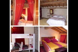 L\'alcove, la chambre parentale, la petite chambre aux lits superposés, la chambre sous le toit